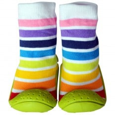 Baby girls Socks shoes with grippy rubber | White stripes