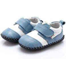 YXY - Chaussures premiers pas cuir souple | Blanc et bleu