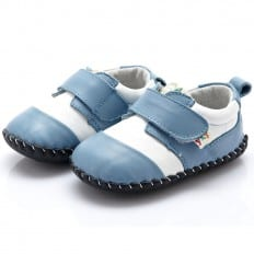 YXY - Krabbelschuhe Babyschuhe Leder - Jungen | Weiß und blau