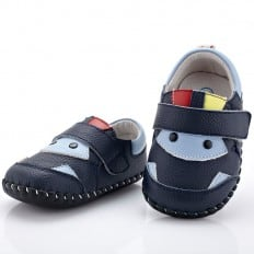 YXY - Chaussures premiers pas cuir souple | Bleu marine et bleu clair