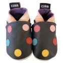 Soft leather baby shoes girls | Black with dots