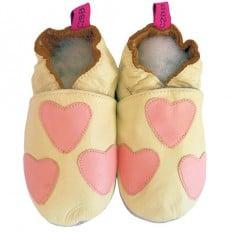 Zapitillas de bebe de cuero suave niñas antideslizante | Corazón blanco y rosa