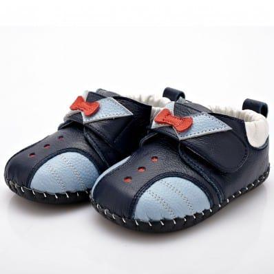 YXY - Zapatos de bebe primeros pasos de cuero niños   Azul marino nudo rojo