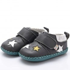 YXY - Baby boys first steps soft leather shoes | Grey with stars