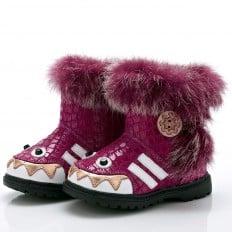 YXY- Krabbelschuhe Babyschuhe  Leder - Mädchen | Pink  gefüllte stiefel monstrum