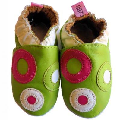 Chaussons bébé cuir souple | Vert avec des ronds