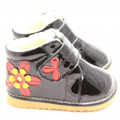 FREYCOO - Squeaky Leather Toddler Girls Shoes | Black winter shoes red flower