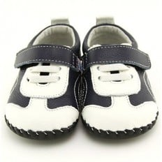 FREYCOO - Baby boys first steps soft leather shoes | Blue sneakers