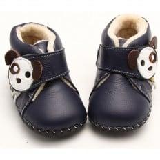 FREYCOO - Chaussures premiers pas cuir souple | Montantes fourrées bleu petit chien