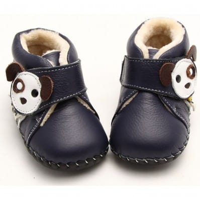 FREYCOO - Baby boys first steps soft leather shoes | Blue filled bootees little dog