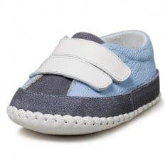 Little Blue Lamb - Scarpine primi passi bimba in morbida pelle | blu chiaro e grigi scuro