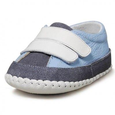 Little Blue Lamb - Zapatos de bebe primeros pasos de cuero niños   Zapatillas de deporte azul claro con gris