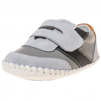 Little Blue Lamb - Baby boys first steps soft leather shoes | Grey with black strip sneakers