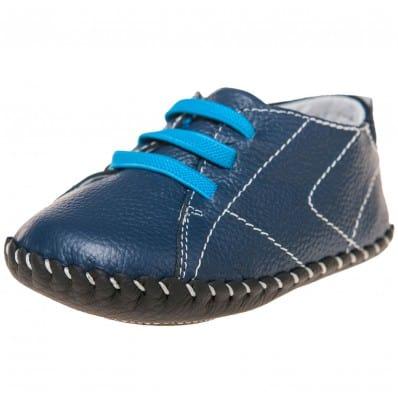 Little Blue Lamb - Chaussures premiers pas cuir souple | Bleu lacet bleu