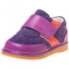 Little Blue Lamb - Squeaky Leather Toddler Girls Shoes | Purple sneakers