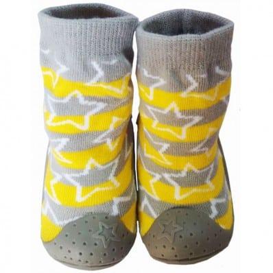 Hausschuhe - Socken Baby Kind geschmeidige Schuhsohle Junge | Stern Gelb