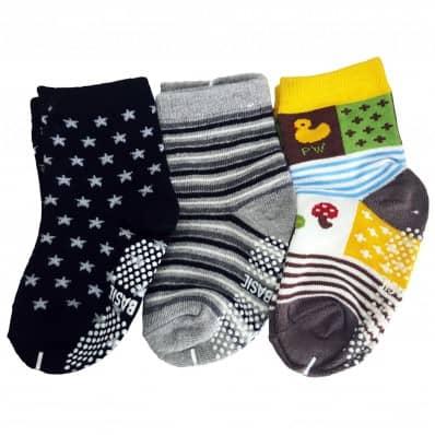 3 paires de chaussettes antidérapantes bébé enfant de 1 à 3 ans | Lot 2