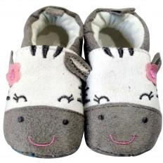 Chaussons bébé enfant toile et tissu | Zèbre