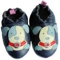 Chausson bébé cuir souple | Chien oeil bleu