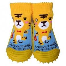 Hausschuhe - Socken Baby Kind geschmeidige Schuhsohle Junge | Gelber Tiger