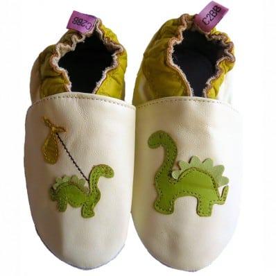 Chausson bébé cuir souple | Dinosaure