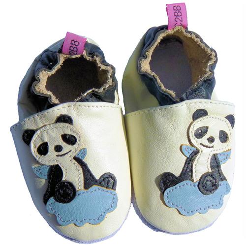 Chaussons B/éb/é en cuir doux Panda 18//24 mois