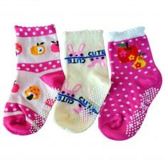 3 pairs of girls anti slip baby socks chidren from 1 to 3 years old | item 15