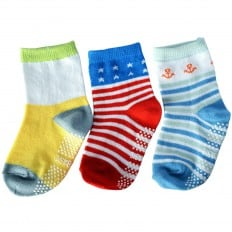 3 paia di calzini antisdrucciolo bambino di 1 a 3 anni | Ragazzo 36