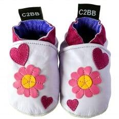 Zapitillas de bebe de cuero suave niñas antideslizante | Flores por Léa