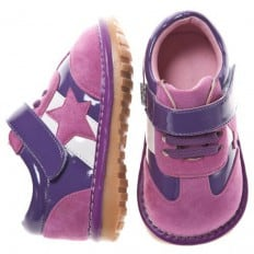 Little Blue Lamb - Krabbelschuhe Babyschuhe squeaky Leder - Mädchen | Sneakers rosa und violetter Stern