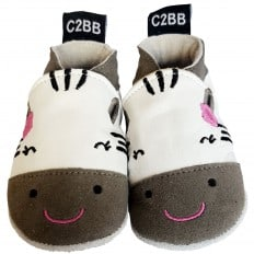 Soft leather baby shoes girls | Grey zebra