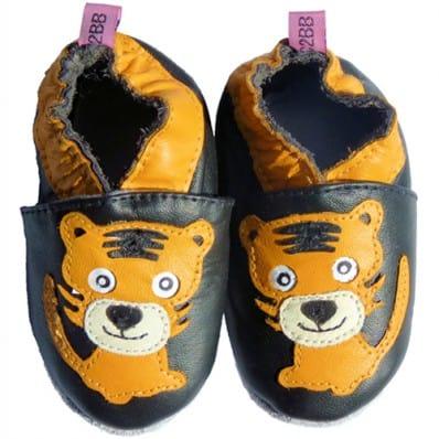Chausson bébé cuir souple | Tigre orange clair