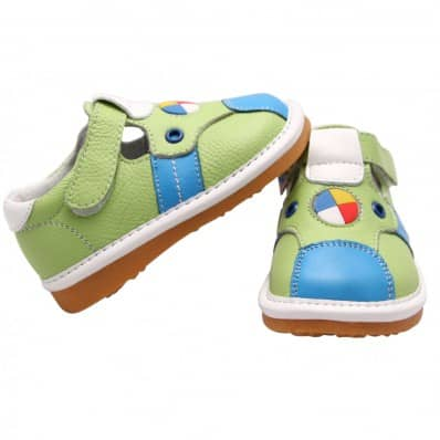 FREYCOO - Squeaky Leather Toddler boys Shoes | Green and blue sandals