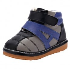 YXY - Squeaky Leather Toddler boys Shoes | Black sneakers blue strip