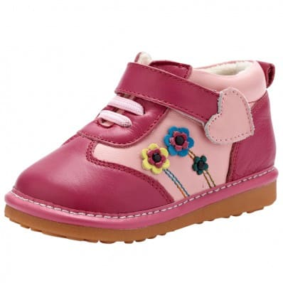 YXY - Squeaky Leather Toddler Girls Shoes | Pink with flowers