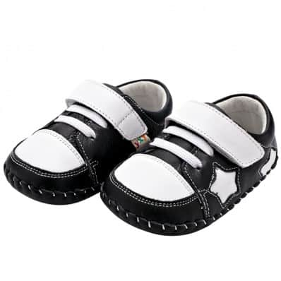 YXY - Baby boys first steps soft leather shoes | Black with white star
