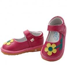 YXY - Zapatos de cuero chirriantes - squeaky shoes niñas | Rosa flor amarilla
