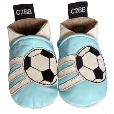 Krabbelschuhe Babyschuhe geschmeidiges Leder - Junge | Blauer Fußball