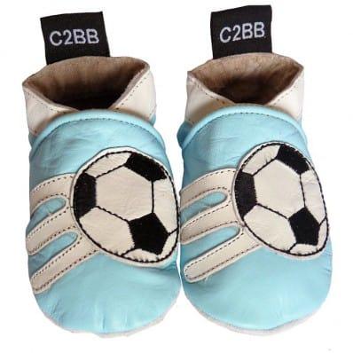 Chausson de bébé cuir souple | Foot bleu