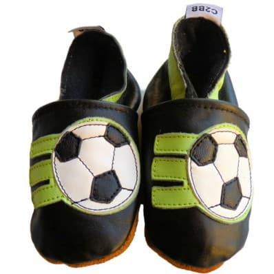 Scarpine Morbida Cuoio Bambini - ragazzo   Calcio nero