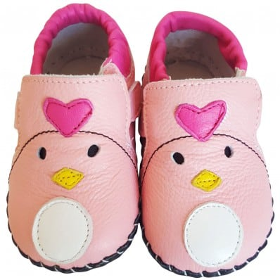 FREYCOO - Chaussures 1er pas cuir souple | Babies rose madame coeur