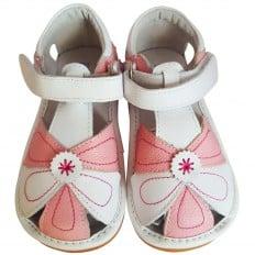 FREYCOO - Zapatos de cuero chirriantes - squeaky shoes niñas | Sandalias  rosa y blancas