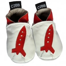 Krabbelschuhe Babyschuhe geschmeidiges Leder - Junge | Rakete