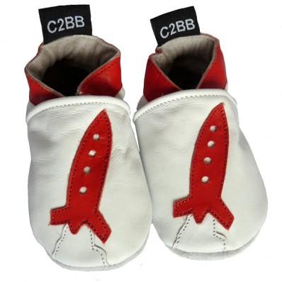 Chausson de bébé cuir souple | Fusée rouge