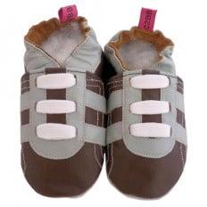 Zapitillas de bebe de cuero suave niños antideslizante | Zapatilla de deporte marrón