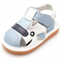 YXY - Zapatos de cuero chirriantes - squeaky shoes niños | Sandalias azules y blancas