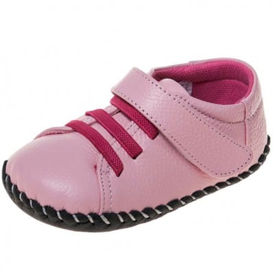 Little Blue Lamb - Zapatos de bebe primeros pasos de cuero niñas | Rosa cordones fushia
