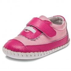 Little Blue Lamb - Chaussures premiers pas cuir souple   Baskets rose et fushia