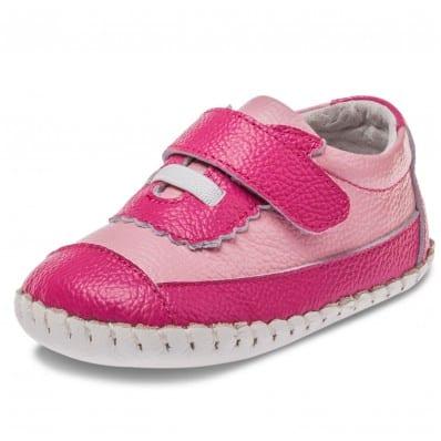 Little Blue Lamb - Scarpine primi passi bimba in morbida pelle | Sneakers fucsia con rosa
