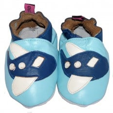 Soft leather baby shoes boys | Blue aircraft